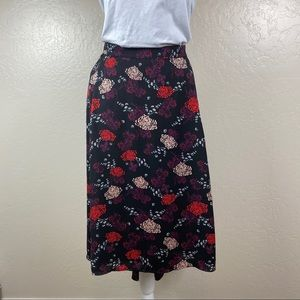 Sejour NWOT Black Floral High-low Skirt 1X